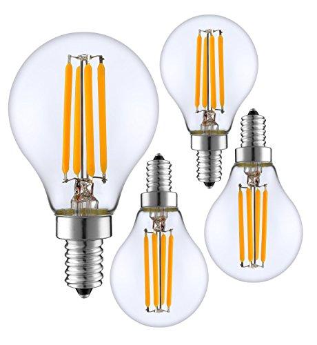 SleekLighting 4 Watt G16.5 E12 LED Filament Globe Light Bulb,Dimmble (35W Incandescent Replacement) Warm White 2700K - 4 Pack