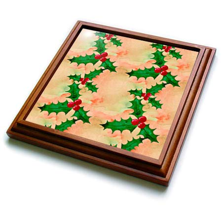 (3dRose Anne Marie Baugh - Christmas - Cute Image of Watercolor Holly Berry Pattern - 8x8 Trivet with 6x6 ceramic tile)