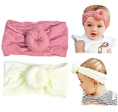California Tot Super Soft and Stretchy Baby Toddler Turban Bun Headband, Set of 2 (Turban Bun) (Headbands For Buns)