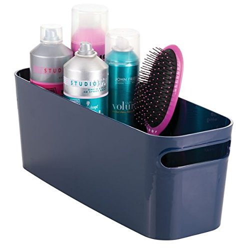 mDesign Bathroom Vanity Plastic Organizer Storage Bin Tote for Health and Beauty Products, Shampoo Bottles, Lotions, Hand Towels, 16 x 6 x 6 - Navy Blue
