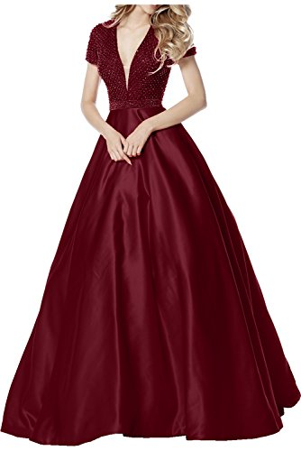 Schleppe Damen Weinrot Holder Elegant Cocktailkleider A Ivydressing Ausschnitt Applikationen Promkleider Neck Rueckenfrei Linie V Abendkleider mit Partykleider qdatn6x