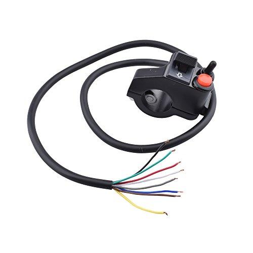 "Minireen 7/8"" 22mm Aluminum Multi-function Motorcycle Offroad Handlebar Mount Horn Beam Winker Turn Single Push Button Switch Control"