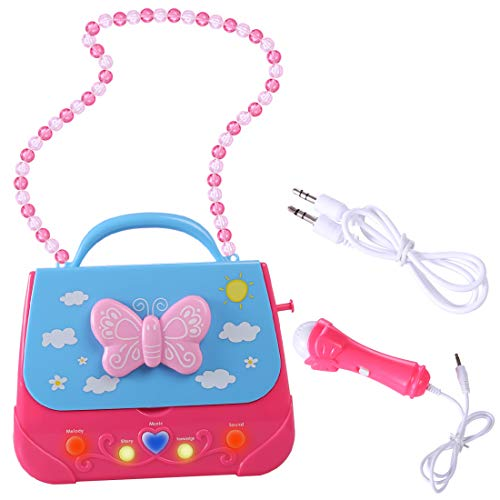 XSHION Karaoke Machine for Girl,Children Portable Musical Bag Karaoke Machine Toys with Microphone Karaoke Player Connect MP3 Smartphone - Butterfly by XSHION (Image #4)