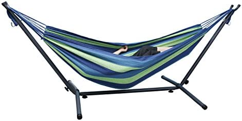 Leadallway 8ft Double Adjustable Space-Saving Hammock,Adjustable Hammock Bed with Steel Stand, 450 Lbs Capacity Hammock for Winter Indoor