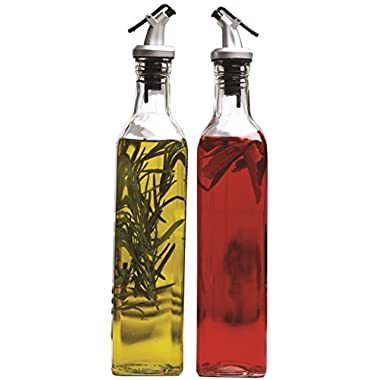 Circleware Oliveto Olive Oil and Vinegar Glass Dispenser Bottles with Plastic Pourer, Set of 2, 17 Ounce, Limited Edition Glassware Serveware