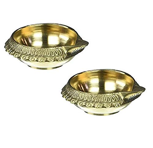 Indian Accent Diwali Puja Diya Oil Lamp Brass Handcrafted Hindu Religious Gift Diya Without Stand (3 Inches x 2)
