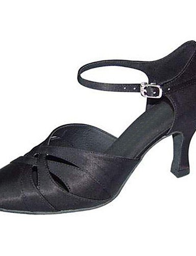 La mode moderne Non Sandales Chaussures de danse pour femmes personnalisables Satin moderne Talon Noir/Blanc,Black,US9/EU40/UK7/CN41