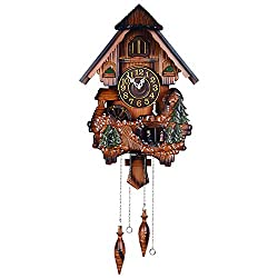 European Swing Cuckoo Clock, Music Hourly Chime Wall Clock Silent Non-Ticking for Children's Room Battery Excluded Size 8237.319CM,A