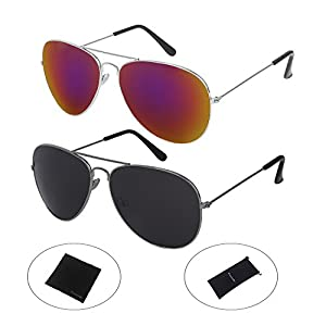 PictetW Classic Aviator Metal Frame Mirror Lens Sunglasses and Black Cloth Protective Bag (Black+Purple, 56)