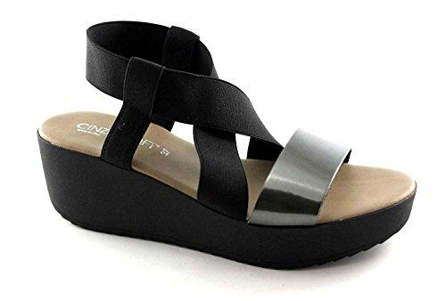 Cinzia Suave IG9197 Sandalias de Cuero Negro Zapatos de Cuña Elástica Nero
