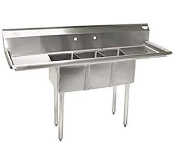 BK Resources BKS 3 1014 1015T 3 Compartment Sink, Left And