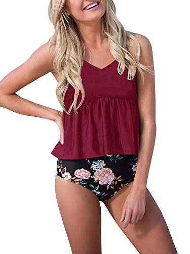Misassy Womens High Waisted Peplum Swimsuit Set Ruffle Tankini Top Floral Two Piece Bathing Suits Wine Red