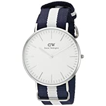 Daniel Wellington Men's 0204DW Glasgow Stainless Steel Watch with Striped Nylon Band