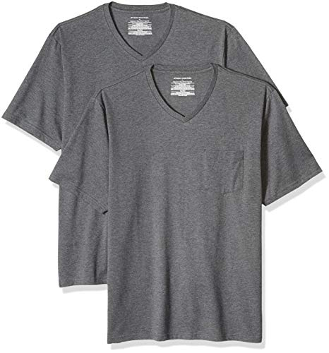 Amazon Essentials Men's 2-Pack Loose-fit V-Neck Pocket T-Shirt, Charcoal Heather, X-Large ()