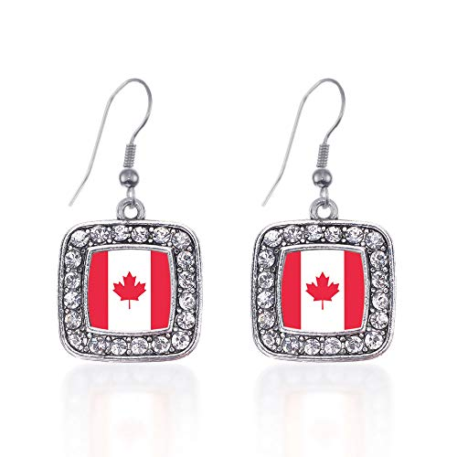 Canadian Jewelry - Inspired Silver - Canadian Flag Charm Earrings for Women - Silver Square Charm French Hook Drop Earrings with Cubic Zirconia Jewelry