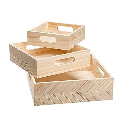 Amazon.com: Darice 30039353 - Bandejas de madera (3 piezas ...