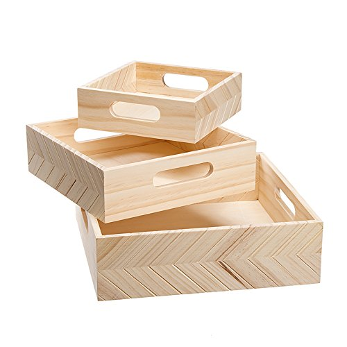 Darice 30039353 3 Piece Wooden Trays, Unfinished/Natural -