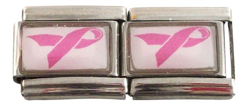 Gadow Jewelry 2-Pack Pink Awareness Ribbons for Italian Charm Bracelets
