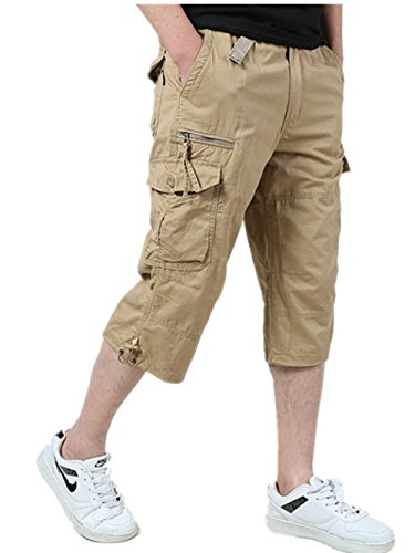 Ivnfout Men's Cargo Shorts Cropped Pants Baggy Wide Fit Multi-Pocket Knee-Length Capri (Cropped Pants Shorts)