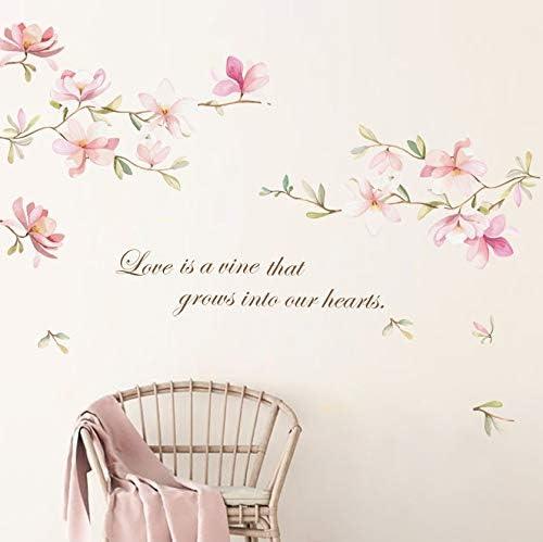 decalmile Pink Flower Wall Decals Magnolia Floral Wall Stickers Girls Bedroom Living Room Door TV Wall Decor