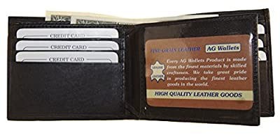 AG Wallets Men's Brown Leather Credit Card ID Passcase With Center Flap Brown