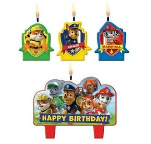 Paw Patrol Birthday Candles 4pcs Cupcake Cake topper Decorations Party Supplies (Party Supplies Uk)