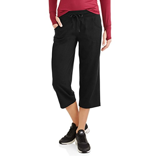 Athletic Works Womens Active Knit Capri (X-Large, Black) (Danskin Now Womens Performance Capris With Mesh Detail)
