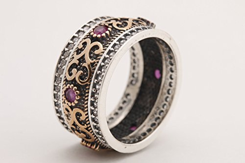 Ruby Silver Bands - Handmade Turkish Authentic Jewelry Round Shape Cut Pink Ruby Topaz 925 Sterling Silver Band Ring for Gift for Ladies Sizes