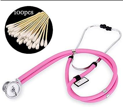 Fall Estetoscopio Profesional, Dual Superior de la Cabeza del Estetoscopio, for Doctor Nurse Vet Student Health Care, Muy Ligero y fácil de Usar (Color : Pink)