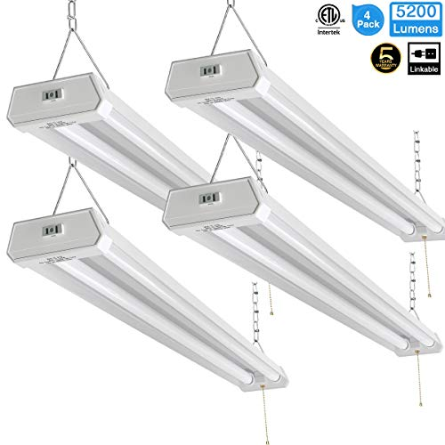 Linkable LED Shop Light for Garage, 42W 5200lm 4FT, 6000-6500K Daylight White, with Pull Chain (ON/Off) cETLus Listed, 5-Year-Warranty, 6000K (4PK)