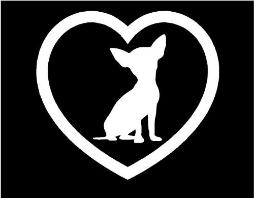 Heart dog puppy Sticker Car Window Vinyl Decal (Chihuahua)