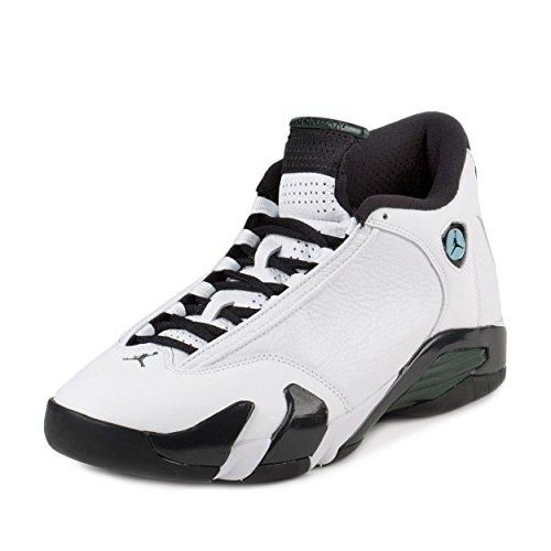 Air Jordan 14 Retro Men's Shoes White/Black/Green/Legend Blue 487471-106 (10 D(M) US) (Black And Blue Jordans compare prices)