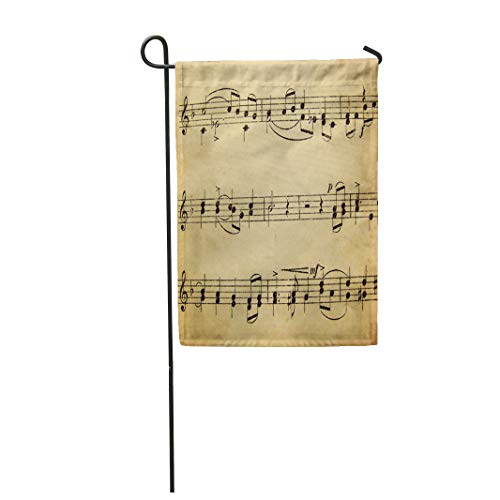 Semtomn Garden Flag 28x40 Inches Print On Two Side Polyester Note Music Sheet Old School Vintage Melody Song Piano Scale Home Yard Farm Fade Resistant Outdoor House Decor -