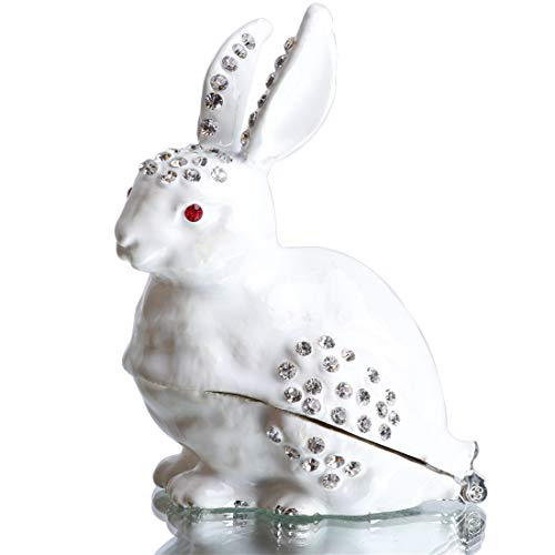 (Waltz&F White Rabbit Hinged Trinket Box Bejeweled Hand-Painted Ring Holder Animal Figurine Collectible)
