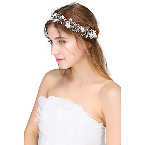 [TIAOBU Vintage Crystal Pearl Bridal Heandband Headpieces Wedding Hair Accessories (Silver)] (Beauty Pageant Queen Costume)