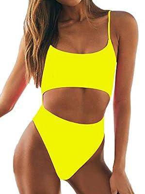 geluboao Womens Sexy Scoop Neck Straps Cutout Lace up Back High Waist Thong 1PCS Padded Swimsuit Bikini Sets