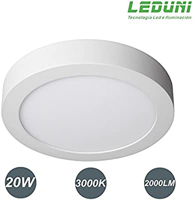 LEDUNI ® Downlight panel superficie led circular 20w plafon Redondo Mejor Precio 2 years-unlimited garantía (LUZ CALIDA)