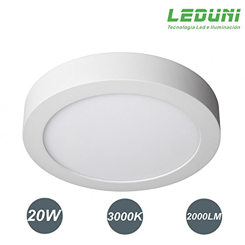 LEDUNI ® Downlight panel superficie led circular 20w plafon Redondo Mejor Precio 2 years-unlimited