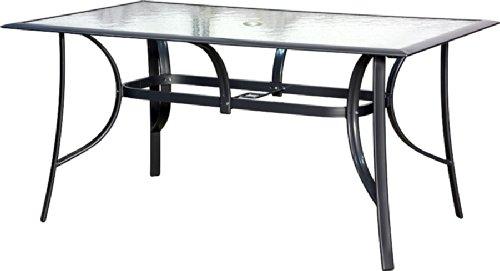 Ib Style Gartentisch Aluminium Silber Mit Sicherheitsglas Schwarz