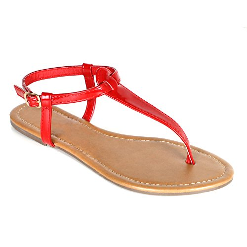 Red Sandals Patent (Women's T Strap Thong Gladiator Strappy Jelly Shiny Flat Flip Flops Sandals (7, Red))