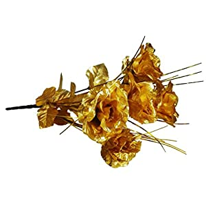 MM TJ Products Artificial Golden Roses- Everlasting Golden Roses Bouquet- 7 Stems Bouquet of Golden Roses 14