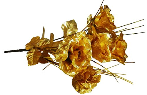 MM TJ Products Artificial Golden Roses- Everlasting Golden Roses Bouquet- 7 Stems Bouquet of Golden Roses