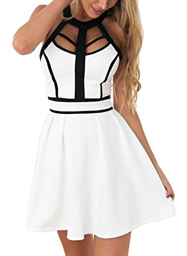 Drimmaks Women's Halter Neck Open Back Casual Mini A Line Cocktail Party Dress (XL, - Dresses White Prom Black