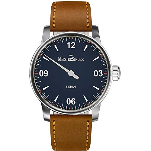 Meistersinger Men's Urban 40mm Brown Leather Band Steel Case Automatic Blue Dial Analog Watch UR908