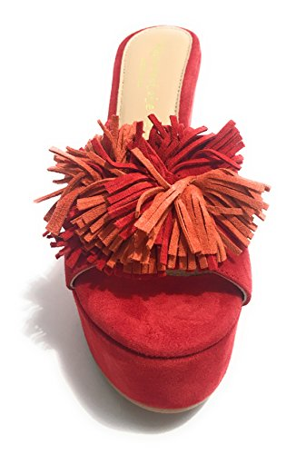 Scarpe Donna Voglia D'Estate Sabot Zeppa TC 120 PL 40 Suede Red DS17VE04