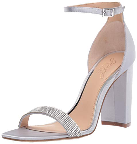 e6cab95c40 Badgley Mischka Jewel Women's Keshia III Heeled Sandal Silver Satin 7 ...