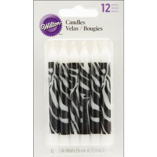 Wilton Zebra Print Candles, 12 Count -