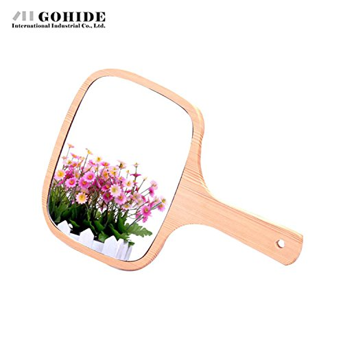 Gohide Handmade Wood Handle Wool Framed Mirror Unbroken Wood Mirror Vintage Wood Mirror Portable Makeup Mirror Mini Cosmetic