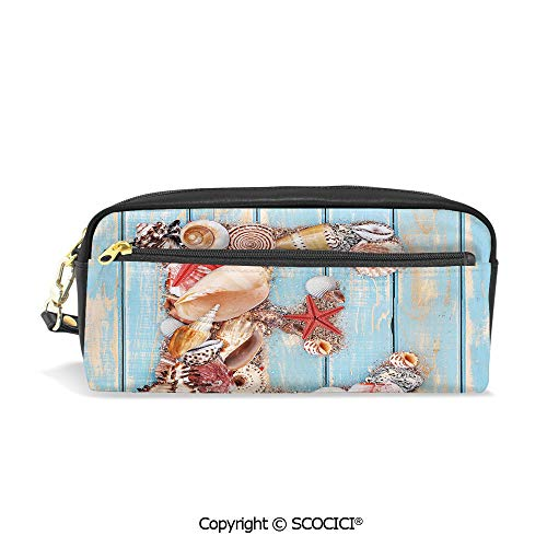Students PU Pencil Case Pouch Women Purse Wallet Bag Stylized E Font Different Lively Seashells Exotic Underwater Life Decorative Waterproof Large Capacity Hand Mini Cosmetic Makeup Bag -
