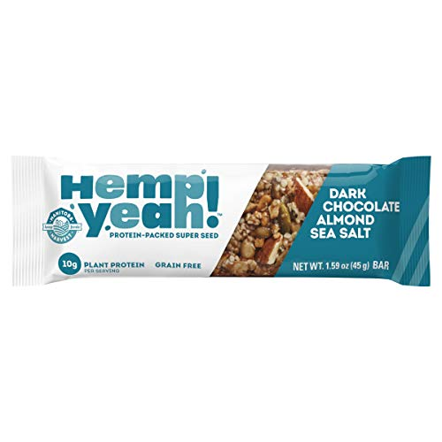 Manitoba Harvest Hemp Yeah! Bars, Dark Chocolate Almond Sea Salt (12 Bars), 10g Plant Protein, Grain Free, Gluten Free, 6g Omegas 3&6, Healthy Granola bar Alternative